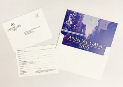 An example of a direct mail invitation with gold foil stamping. Printed for Barnard College