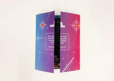 A gatefold brochure printing project completed for Virgin Unite