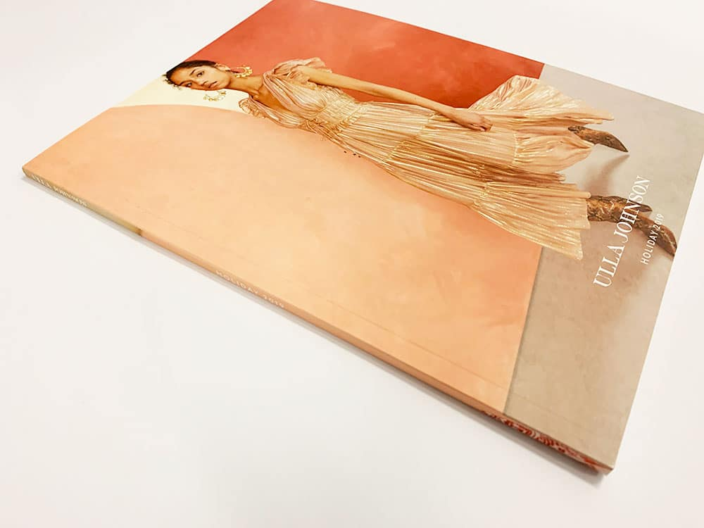 lookbook printing in nyc by thomas group printing. An example of a perfect bound lookbook printed for Ulla Johnson