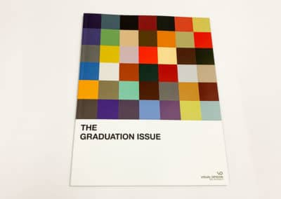 A perfect bound booklet printed for Visual Opinion, the student newspaper of the School of the Visual Arts