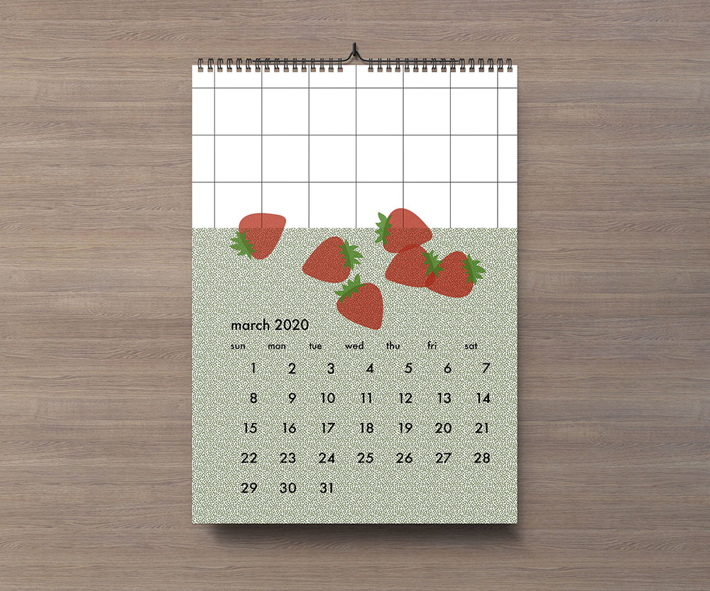 Small desk calendar printing nyc with strawberries