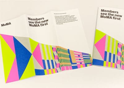 a colorful offset printed trifold brochure